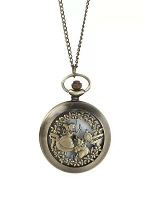Disney Alice In Wonderland Pocket Watch Necklace New With Tags!