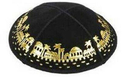 Leather Yamaka Black & Gold Yarmulkah Jewish Kipa Holiday Kippa Yarmulke Kippah