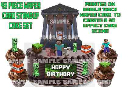 Edible Xbox Game Block Birthday Cake Cupcake Wafer Rice Card Toppers Decorations
