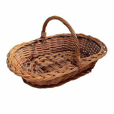 Wicker basket with handle Traditional storage willow Hamper Display 3 sizes