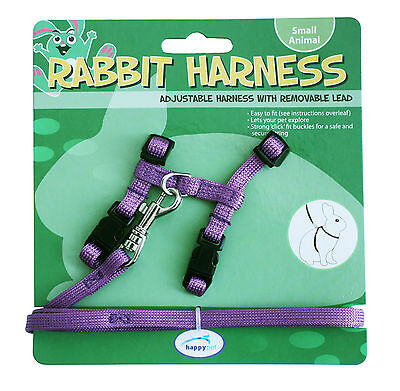 Adjustable Purple Harness with Removable Lead for Rabbits