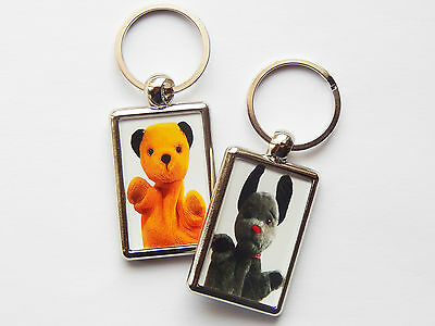 SOOTY AND SWEEP Classic TV Puppets Quality Chrome Keyring Picture Each Side