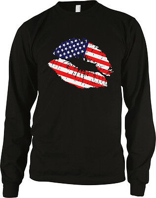 USA Flag Lips Love America Patriotic United States Old Glory Long Sleeve Thermal