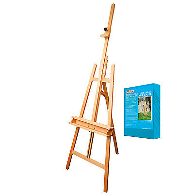 "US Art Supply 89"" Wood Inclinable Artist Lyre Adjustable Floor Easel Painting"