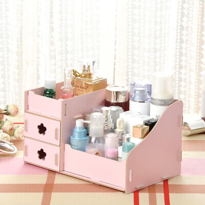 < DIY Gift for Her > Cosmetic Make Up Makeup Tidy Storage Box Wooden Organiser