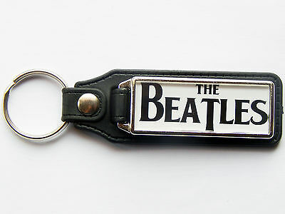 THE BEATLES Quality Leather & Chrome Keyring