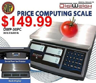 Digiweigh DWP-30PC 30 Lbs Price Computing Scale NTEP Legal For Trade Certified