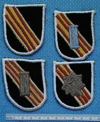 5th SPECIAL FORCES BERET FLASH SET OF 4, NAM PERIOD MACHINE MADE REPRODUCTIONS