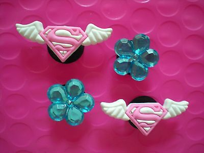 Garden Clog Shoe Charm Pin Pink Super Girl For Accessories Fits WristBand