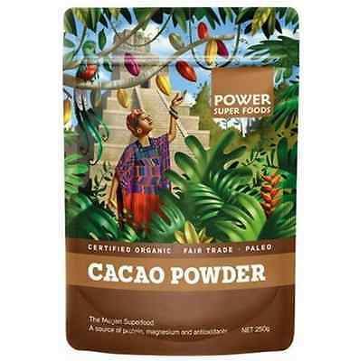 250g ORGANIC CACAO POWDER Power Super Foods Certified Raw Paleo Healthy Smoothie