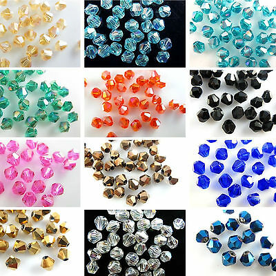 100Pcs Lots Loose Glass Crystal Bicone Spacer Beads Jewelry Making Accessories