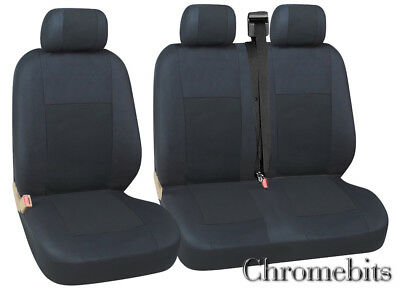 Vw Transporter T5 Seat Covers Quality Black Fabric 2+1  New In Bag