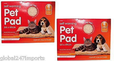 TWIN PACK  Self Heating Thermal Cat Puppy Dog Mat Bed Pet Warm Washable Rug