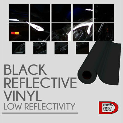 "Black Reflective car vinyl wrap Sign 12"" x 10 FT"