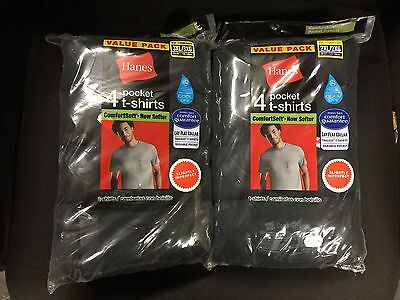 8Pk Pocket T-Shirts Mens Hanes Slightly Imperfect 100%cotton-Asst Colors