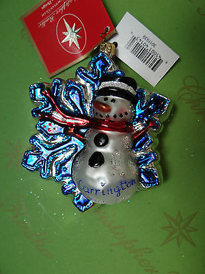 Christopher Radko Snowman Children's Art Project Glass Ornament