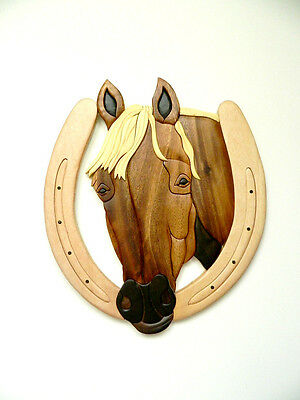 Horse Head II Horseshoe Good Luck Intarsia Wood Wall Art Home Decor New