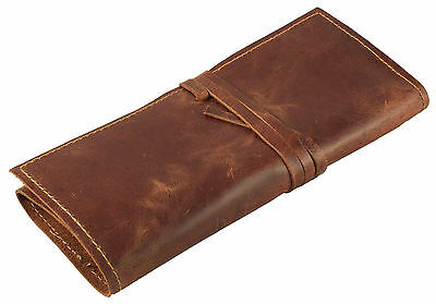 Genuine Leather Pencil Roll Up Pen Case Pouch Wrap Makeup Brush Holder Organizer
