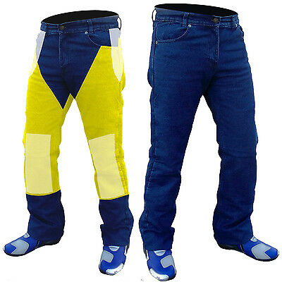"MENS BLUE DENIM MOTORCYCLE JEANS REINFORCED WITH DuPont™ KEVLAR®  44"" WAIST"