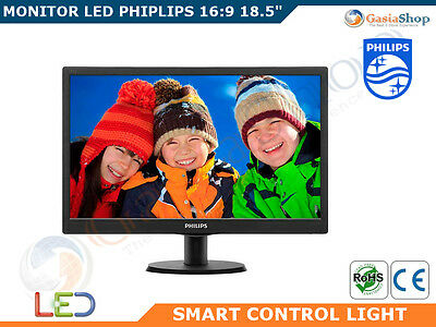 "Monitor Hd Led Philips 18.5"" Alta Definizione Smart Control Elite 193V5Lsb2"