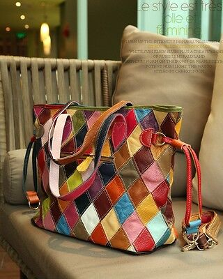 Fashion Women Color Genuine Leather Patchwork Bag Spangle-Ribbo Bag Cow handbag