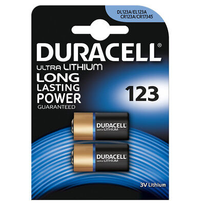 2 x Duracell Battery 123 CR123A DL123 Lithium 3v Ultra Photo EL123A L123A PL123