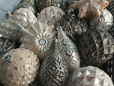 French Style Vintage Chic Glass Christmas Tree Baubles Grey Pink Cream Antique