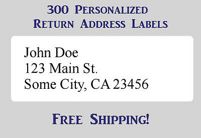 "300 Large Printed Return Address Labels 1"" x 2-5/8"" Inch 1"" x 2.625"""