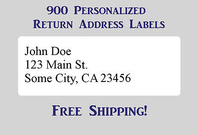 "900 Large Printed Return Address Labels 1"" x 2-5/8"" Inch 1"" x 2.625"""