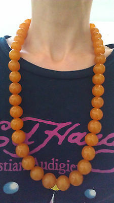 Antique pressed round beads Baltic amber necklace