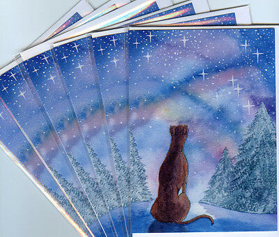 6 greyhound whippet lurcher dog greeting cards Christmas snow stars starry night