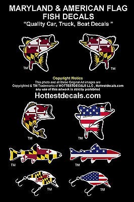 sale retailer ecfeb 97248 MARYLAND FISH DECAL STICKER Rockfish Large Mouth Bass CAR TRUCK BOAT  American