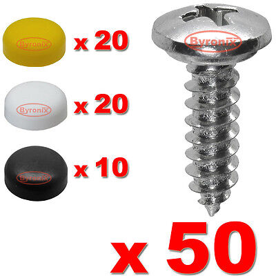Number Plate Screws And Caps Fitting Fixing Kit Car X 50 - Quality