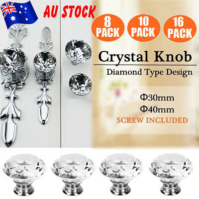 30MM/40MM Diamond Crystal Glass Door Cabinet Drawer Knobs Handles Pulls AU STOCK