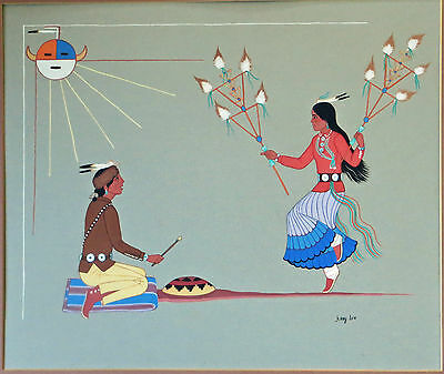 Jerry Lee , Hosten Nez Exceptional Gouache by Noted Native American Artist