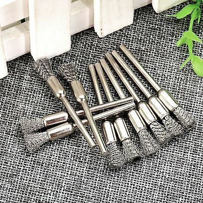 10PCS One Set Useful 6mm Wire Drill Polishing Brush 3mm Shank Rotary Power Tool