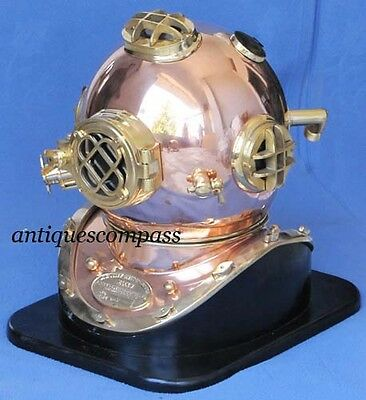 "Nautical Collectable Shiny Copper & Brass ""US NAVY MARK V"" Divers Diving Helmet"