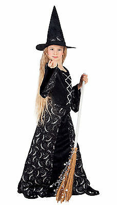 Girls Long Black Moon Witch Costume Fancy Dress Halloween Outfit u0026 Hat NEW  sc 1 st  PicClick UK & GIRLS LONG BLACK Moon Witch Costume Fancy Dress Halloween Outfit ...
