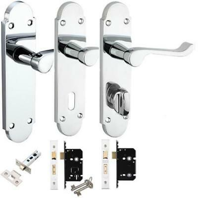 Polished Chrome Epsom, Chelsea Internal Door Handle packs Latch, Lock & Bathroom