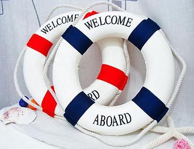 Navy Mediterranean Style Welcome Aboard Decorative Life Ring Buoy Room Decor L