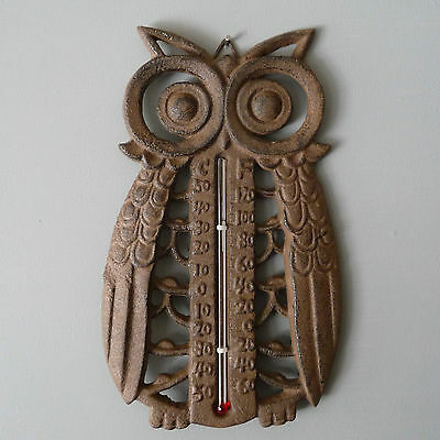Cast Iron Owl Shape Indoor/Outdoor Thermometer