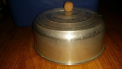 Aluminum Dome Cake Cover with Wood Knob Vintage