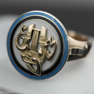 Antique 14ct rose gold ring with enamel silver monogram Russian Empire 56 Tsar