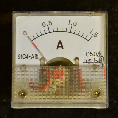 MINI 0- 1.5A DC Ammeter Analogue Clear Panel Amp Meter Analog NEW