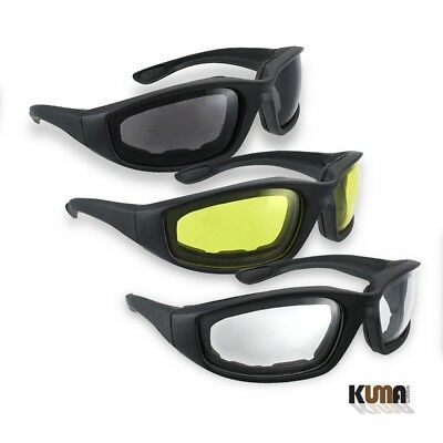 1, 2 or 3 Pairs Combo Foam Padded Clear Smoke Yellow Motorcycle Riding Glasses