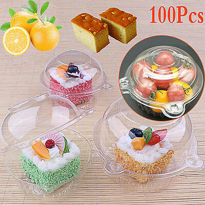 100X Clear Plastic Single Cup Cake Boxes Holder Muffin Case Pods Domes Party UK
