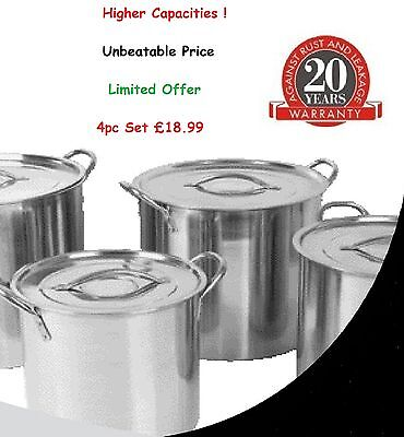 Set of 4 Deep Stainless Steel Stock pot Stockpot Set Pots Casserole Saucepan