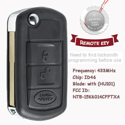New Uncut Folding Remote key Fob 433MHz PCF7941 for Land Rover Discovery 3