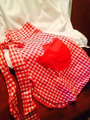 Vintage Red And White Gingham Original Half Apron 1950's