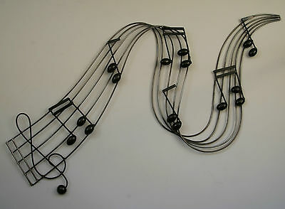 Metal Wall Art Decor Picture Music Notes River Black Silver New Boxed